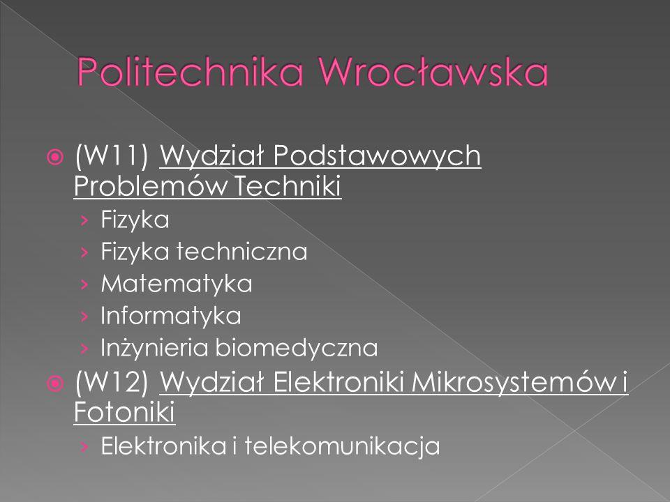  (W11) Wydział Podstawowych Problemów Techniki › Fizyka › Fizyka techniczna › Matematyka › Informatyka › Inżynieria biomedyczna  (W12) Wydział Elekt