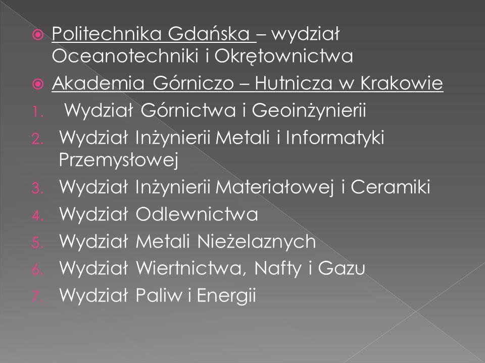  Politechnika Gdańska – wydział Oceanotechniki i Okrętownictwa  Akademia Górniczo – Hutnicza w Krakowie 1. Wydział Górnictwa i Geoinżynierii 2. Wydz
