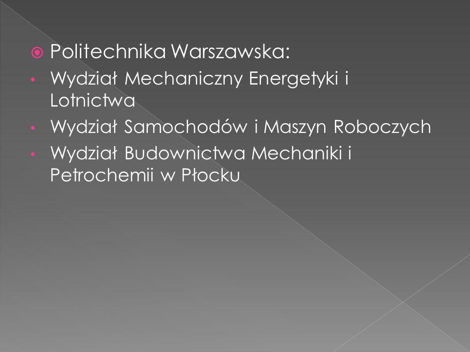  Politechnika Warszawska: Wydział Mechaniczny Energetyki i Lotnictwa Wydział Samochodów i Maszyn Roboczych Wydział Budownictwa Mechaniki i Petrochemi