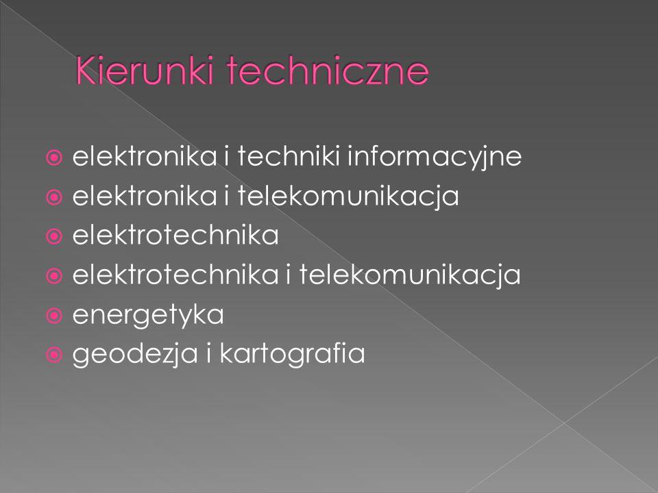  elektronika i techniki informacyjne  elektronika i telekomunikacja  elektrotechnika  elektrotechnika i telekomunikacja  energetyka  geodezja i