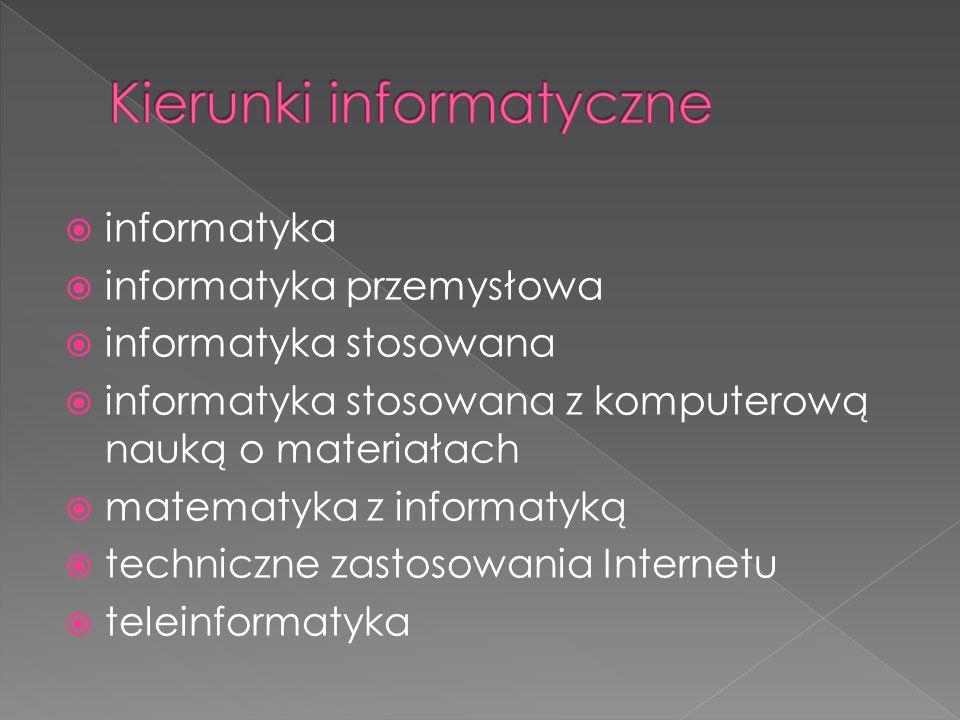  informatyka  informatyka przemysłowa  informatyka stosowana  informatyka stosowana z komputerową nauką o materiałach  matematyka z informatyką 