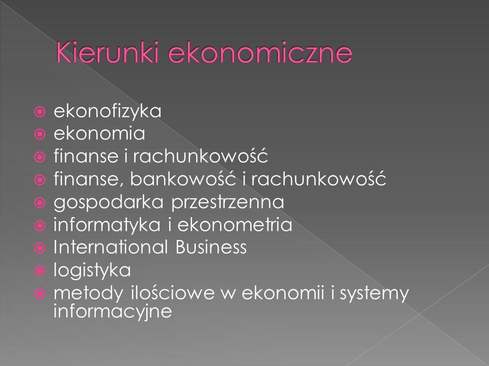  ekonofizyka  ekonomia  finanse i rachunkowość  finanse, bankowość i rachunkowość  gospodarka przestrzenna  informatyka i ekonometria  Internat