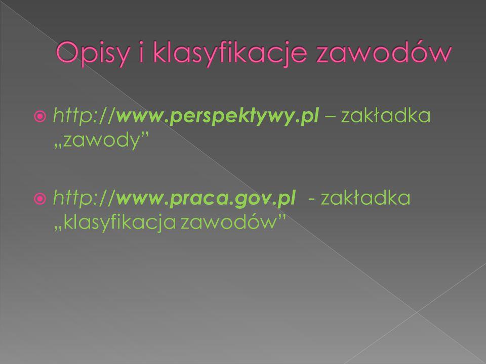 """ http:// www.perspektywy.pl – zakładka """"zawody""""  http:// www.praca.gov.pl - zakładka """"klasyfikacja zawodów"""""""