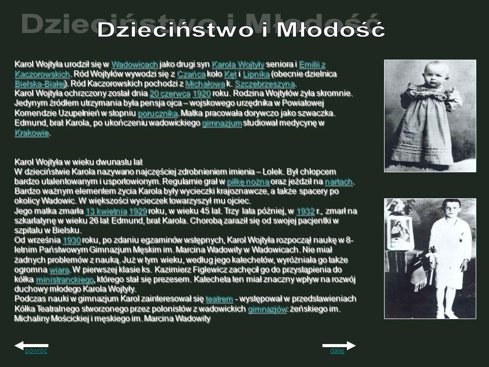 14 maja 1938r Karol Wojtyła zakończył naukę w gimnazjum otrzymując świadectwo maturalne z oceną celującą, która umożliwiała podjęcie studiów na większości uczelni bez egzaminów wstępnych.