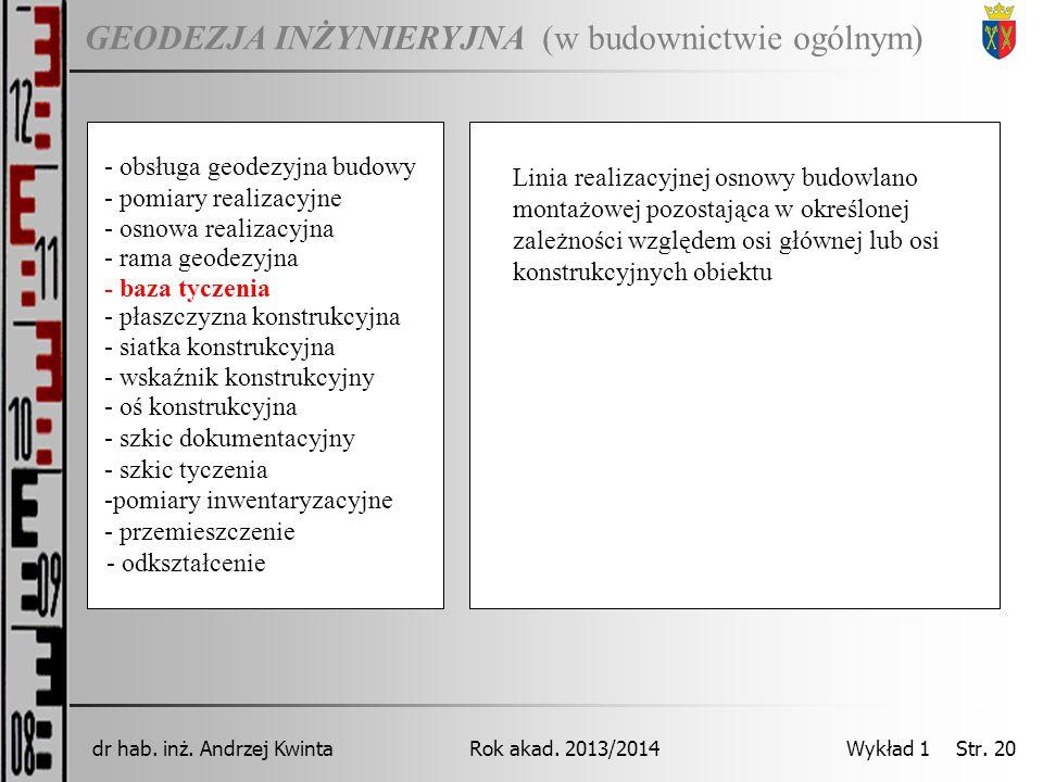GEODEZJA INŻYNIERYJNA Rok akad. 2013/2014dr hab. inż. Andrzej Kwinta Wykład 1 Str. 20 (w budownictwie ogólnym) - pomiary realizacyjne - osnowa realiza