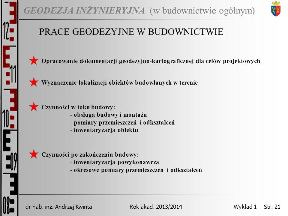 GEODEZJA INŻYNIERYJNA Rok akad. 2013/2014dr hab. inż. Andrzej Kwinta Wykład 1 Str. 21 (w budownictwie ogólnym) PRACE GEODEZYJNE W BUDOWNICTWIE Opracow