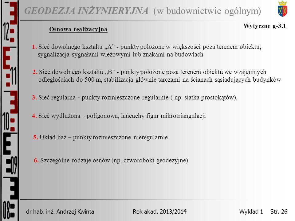 GEODEZJA INŻYNIERYJNA Rok akad. 2013/2014dr hab. inż. Andrzej Kwinta Wykład 1 Str. 26 (w budownictwie ogólnym) Osnowa realizacyjna Wytyczne g-3.1 1. S