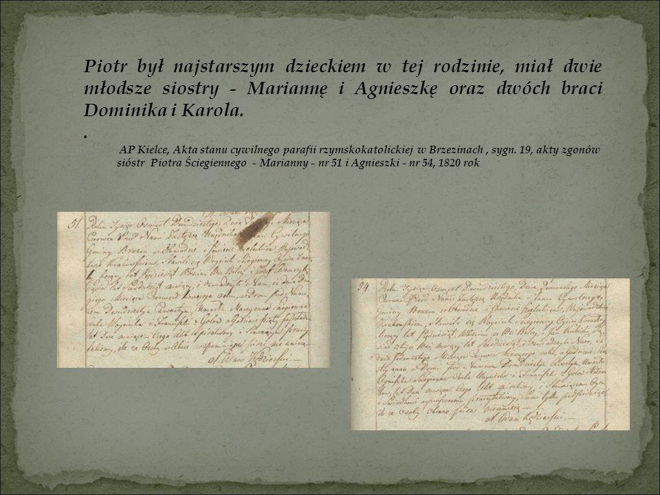 Piotr był najstarszym dzieckiem w tej rodzinie, miał dwie młodsze siostry - Mariannę i Agnieszkę oraz dwóch braci Dominika i Karola.. AP Kielce, Akta