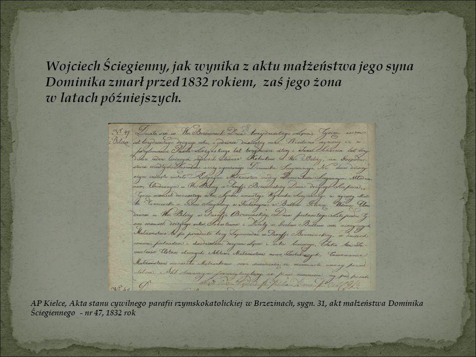 Wojciech Ściegienny, jak wynika z aktu małżeństwa jego syna Dominika zmarł przed 1832 rokiem, zaś jego żona w latach późniejszych. AP Kielce, Akta sta