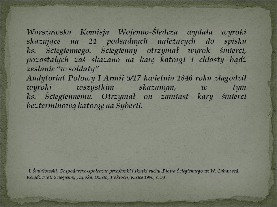 Warszawska Komisja Wojenno-Śledcza wydała wyroki skazujące na 24 podsądnych należących do spisku ks. Ściegiennego. Ściegienny otrzymał wyrok śmierci,