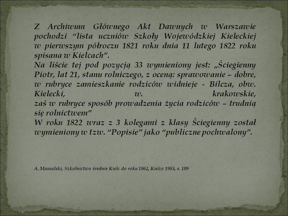 """Z Archiwum Głównego Akt Dawnych w Warszawie pochodzi """"lista uczniów Szkoły Wojewódzkiej Kieleckiej w pierwszym półroczu 1821 roku dnia 11 lutego 1822"""