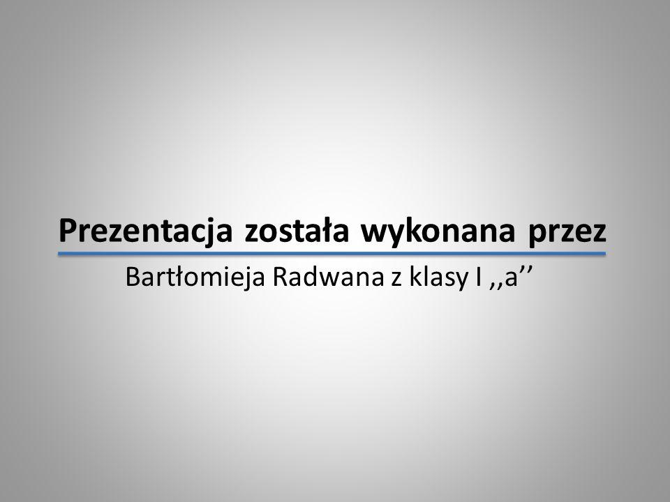 Prezentacja została wykonana przez Bartłomieja Radwana z klasy I,,a''