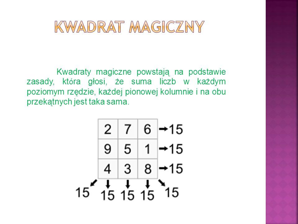 Kwadraty magiczne powstają na podstawie zasady, kt ó ra głosi, że suma liczb w każdym poziomym rzędzie, każdej pionowej kolumnie i na obu przekątnych