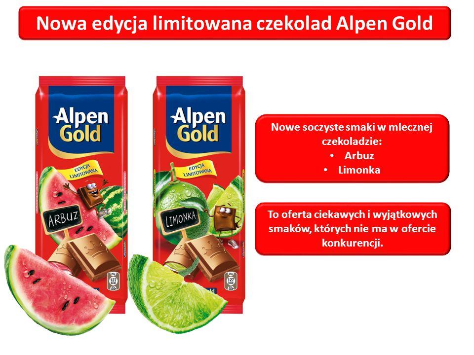 Nowa edycja limitowana czekolad Alpen Gold Nowe soczyste smaki w mlecznej czekoladzie: Arbuz Limonka To oferta ciekawych i wyjątkowych smaków, których nie ma w ofercie konkurencji.