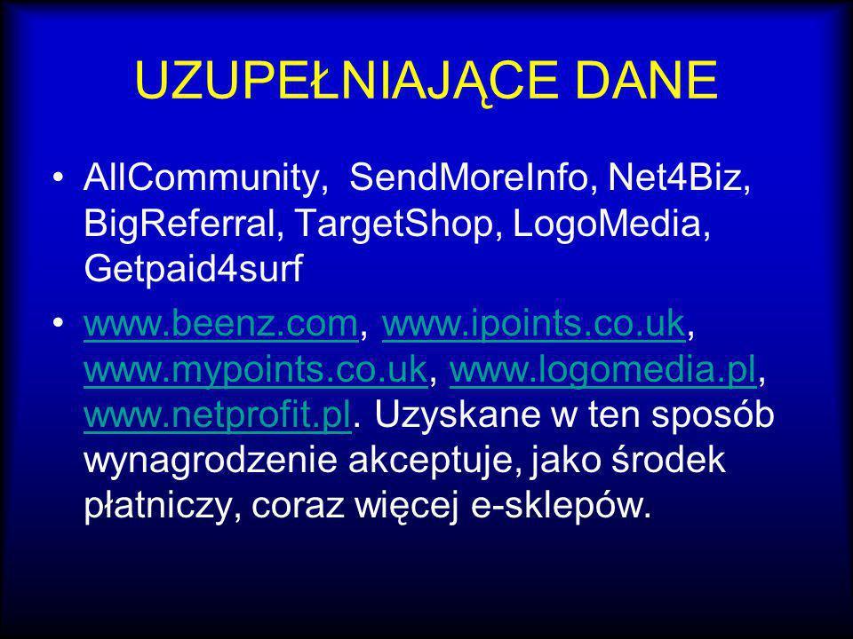 UZUPEŁNIAJĄCE DANE AllCommunity, SendMoreInfo, Net4Biz, BigReferral, TargetShop, LogoMedia, Getpaid4surf www.beenz.com, www.ipoints.co.uk, www.mypoint