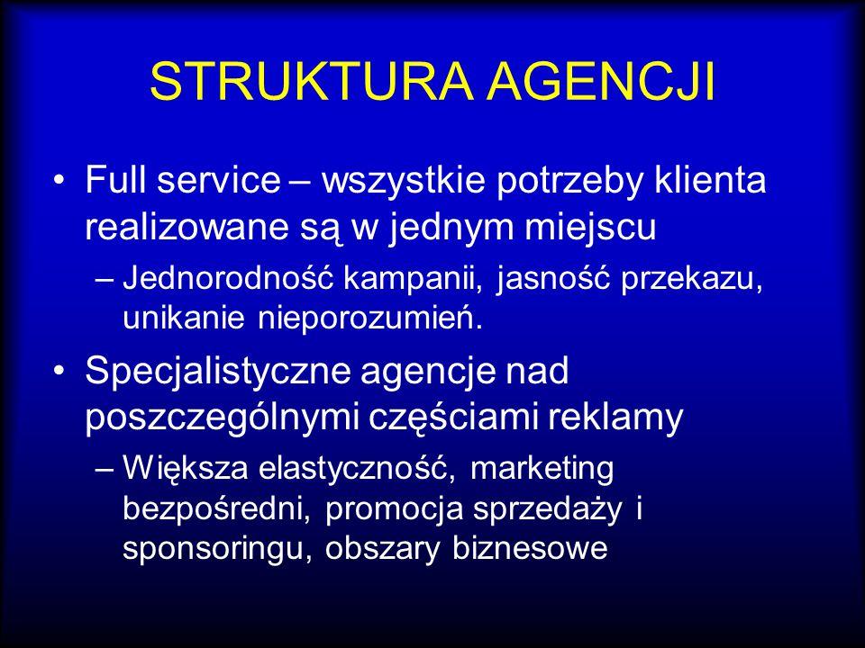 STRUKTURA AGENCJI Full service – wszystkie potrzeby klienta realizowane są w jednym miejscu –Jednorodność kampanii, jasność przekazu, unikanie nieporo