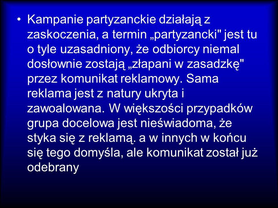 """Kampanie partyzanckie działają z zaskoczenia, a termin """"partyzancki"""