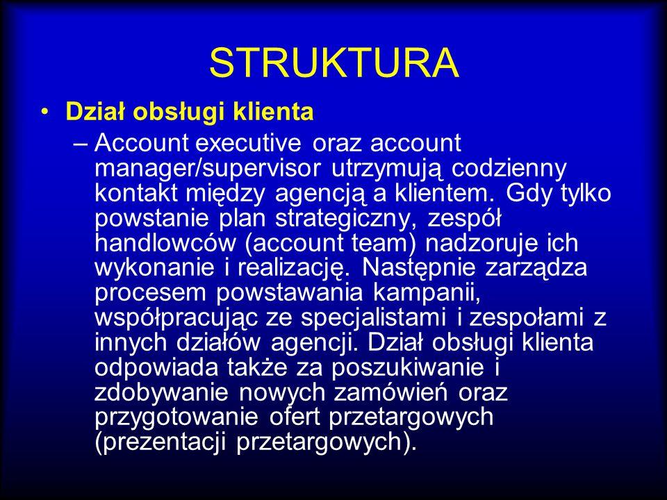 STRUKTURA Dział obsługi klienta –Account executive oraz account manager/supervisor utrzymują codzienny kontakt między agencją a klientem. Gdy tylko po