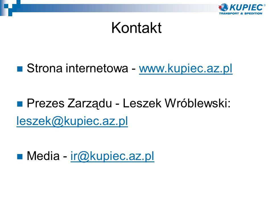 Kontakt Strona internetowa - www.kupiec.az.plwww.kupiec.az.pl Prezes Zarządu - Leszek Wróblewski: leszek@kupiec.az.pl Media - ir@kupiec.az.plir@kupiec