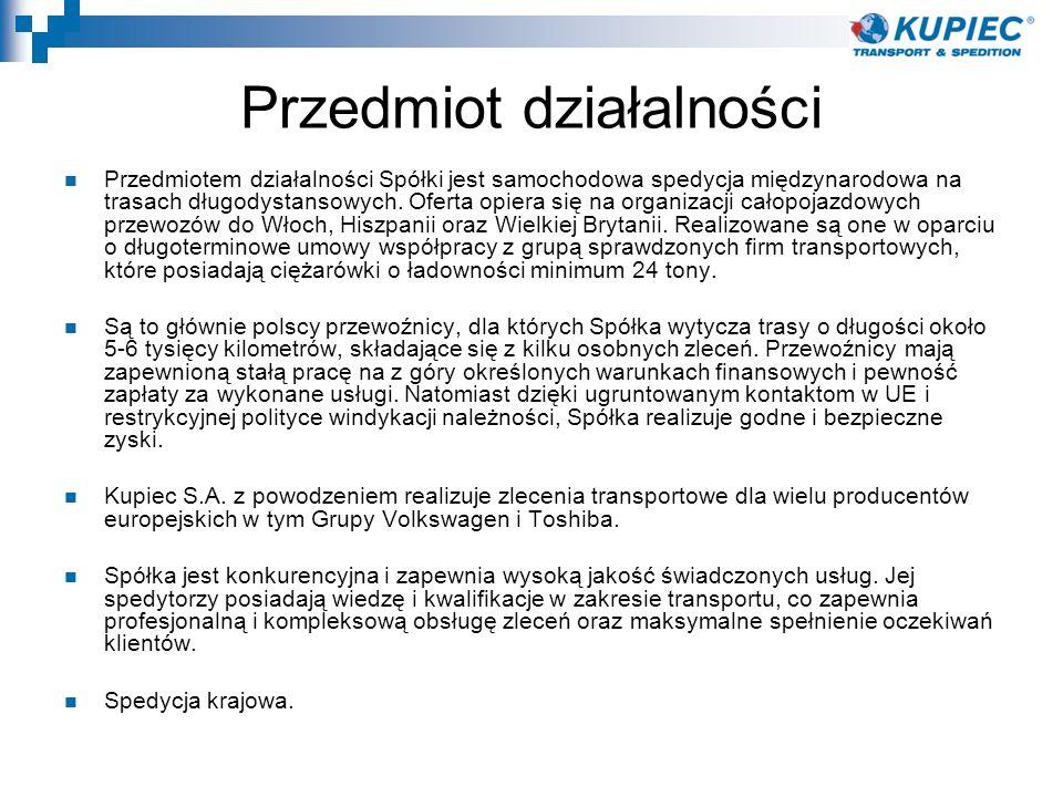 Przedmiot działalności Przedmiotem działalności Spółki jest samochodowa spedycja międzynarodowa na trasach długodystansowych. Oferta opiera się na org