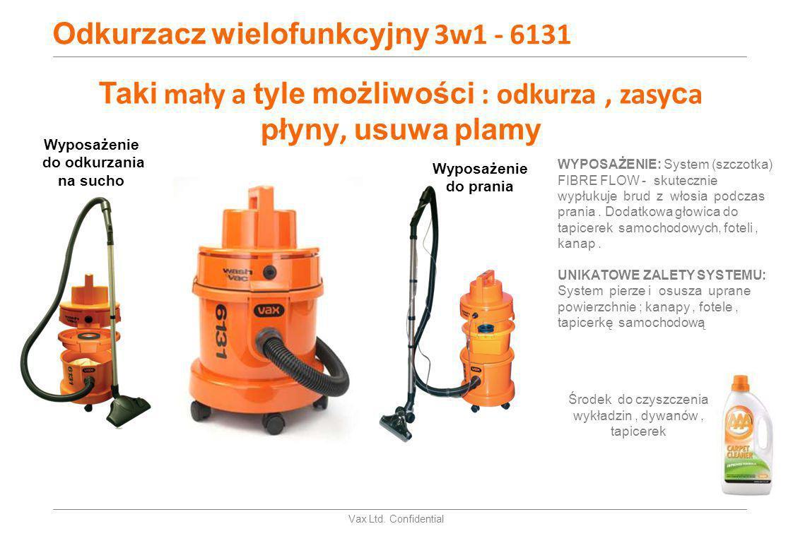 Vax Ltd. Confidential Odkurzacz wielofunkcyjny 3w1 - 6131 WYPOSAŻENIE: System (szczotka) FIBRE FLOW - skutecznie wypłukuje brud z włosia podczas prani