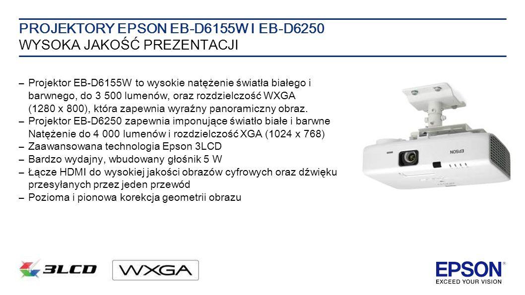 PROJEKTORY EPSON EB-D6155W I EB-D6250 WYSOKA JAKOŚĆ PREZENTACJI –Projektor EB-D6155W to wysokie natężenie światła białego i barwnego, do 3 500 lumenów, oraz rozdzielczość WXGA (1280 x 800), która zapewnia wyraźny panoramiczny obraz.
