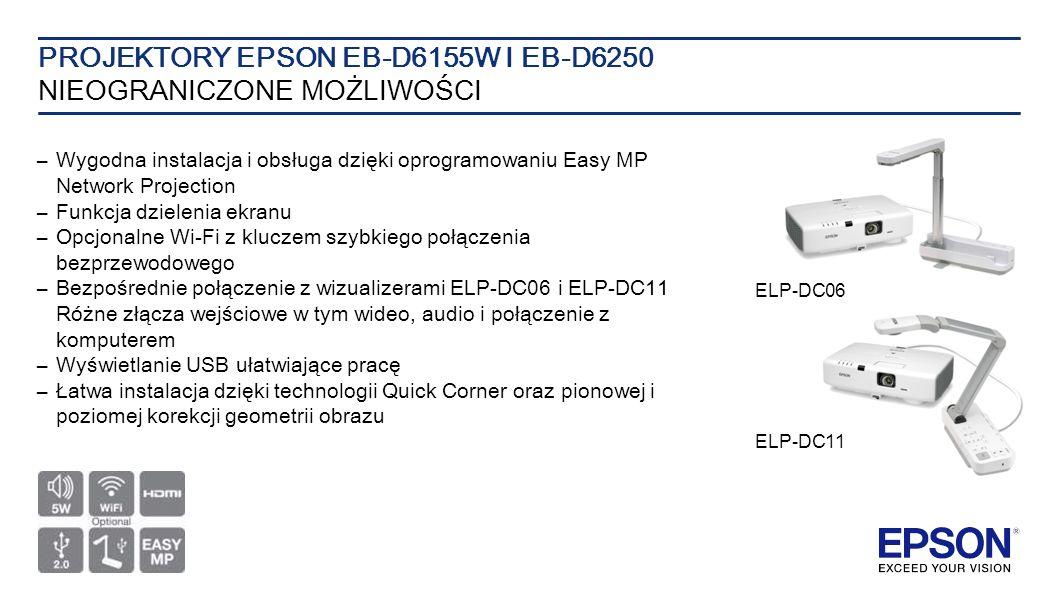 –Wygodna instalacja i obsługa dzięki oprogramowaniu Easy MP Network Projection –Funkcja dzielenia ekranu –Opcjonalne Wi-Fi z kluczem szybkiego połączenia bezprzewodowego –Bezpośrednie połączenie z wizualizerami ELP-DC06 i ELP-DC11 Różne złącza wejściowe w tym wideo, audio i połączenie z komputerem – Wyświetlanie USB ułatwiające pracę – Łatwa instalacja dzięki technologii Quick Corner oraz pionowej i poziomej korekcji geometrii obrazu PROJEKTORY EPSON EB-D6155W I EB-D6250 NIEOGRANICZONE MOŻLIWOŚCI ELP-DC11 ELP-DC06