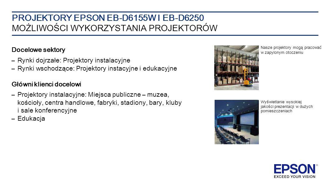 Docelowe sektory – Rynki dojrzałe: Projektory instalacyjne –Rynki wschodzące: Projektory instacyjne i edukacyjne Główni klienci docelowi –Projektory instalacyjne: Miejsca publiczne – muzea, kościoły, centra handlowe, fabryki, stadiony, bary, kluby i sale konferencyjne – Edukacja PROJEKTORY EPSON EB-D6155W I EB-D6250 MOŻLIWOŚCI WYKORZYSTANIA PROJEKTORÓW Nasze projektory mogą pracować w zapylonym otoczeniu Wyświetlanie wysokiej jakości prezentacji w dużych pomieszczeniach