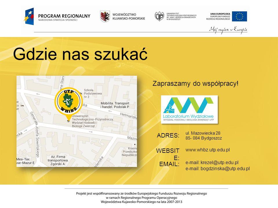 ul. Mazowiecka 28 85- 084 Bydgoszcz www.whbz.utp.edu.pl e-mail: krezel@utp.edu.pl e-mail: bogdzinska@utp.edu.pl ADRES: WEBSIT E: EMAIL: Gdzie nas szuk