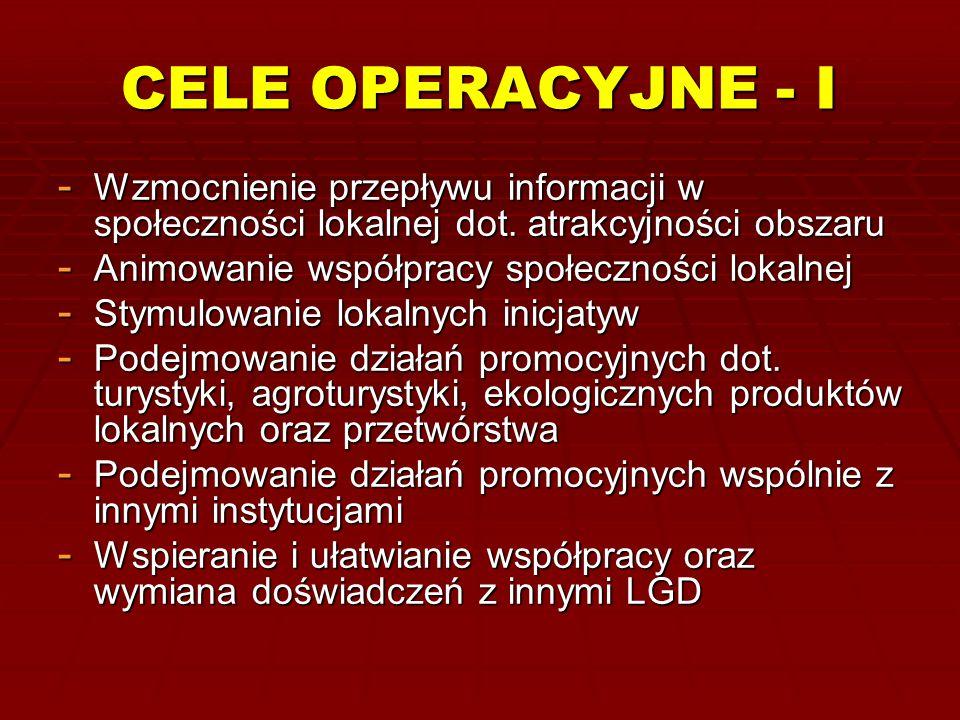 CELE OPERACYJNE - I - Wzmocnienie przepływu informacji w społeczności lokalnej dot. atrakcyjności obszaru - Animowanie współpracy społeczności lokalne