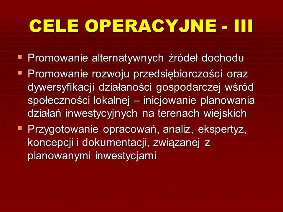 CELE OPERACYJNE - III  Promowanie alternatywnych źródeł dochodu  Promowanie rozwoju przedsiębiorczości oraz dywersyfikacji działaności gospodarczej