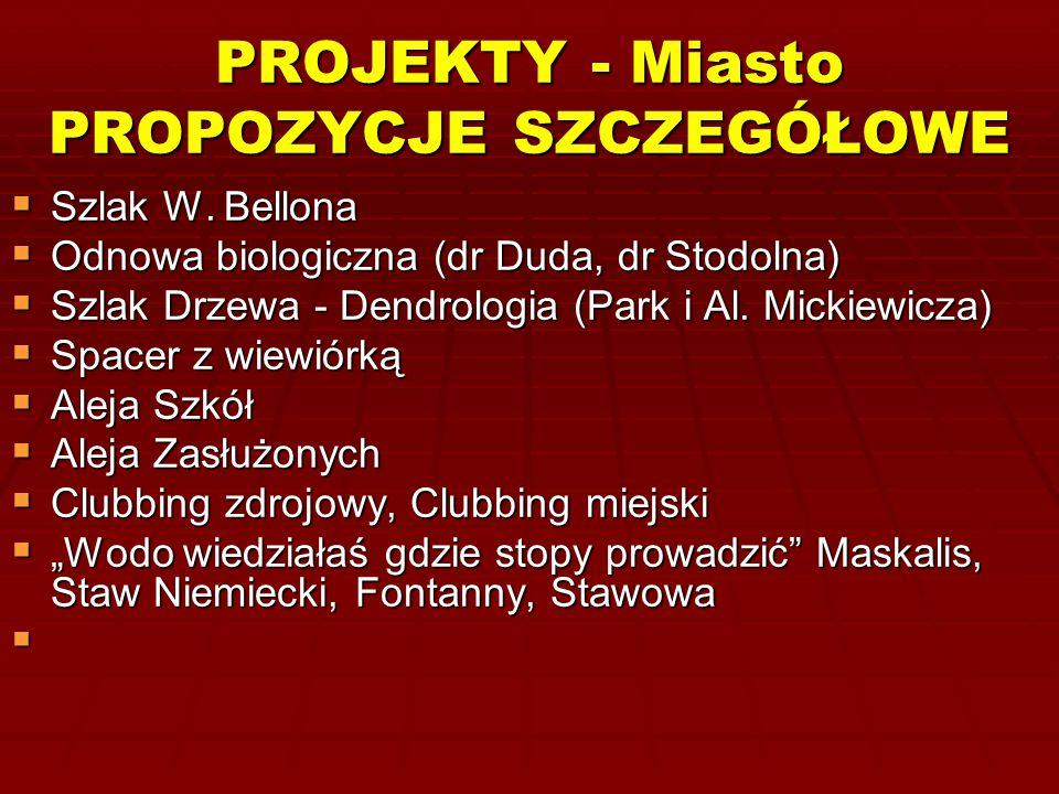 PROJEKTY - Miasto PROPOZYCJE SZCZEGÓŁOWE  Szlak W. Bellona  Odnowa biologiczna (dr Duda, dr Stodolna)  Szlak Drzewa - Dendrologia (Park i Al. Micki