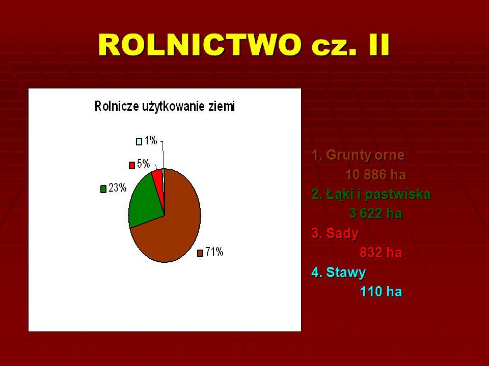 ROLNICTWO cz. II 1. Grunty orne 10 886 ha 10 886 ha 2. Łąki i pastwiska 3 622 ha 3 622 ha 3. Sady 832 ha 832 ha 4. Stawy 110 ha 110 ha