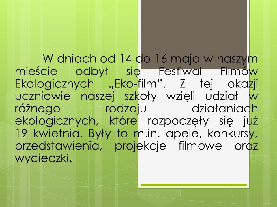 """W dniach od 14 do 16 maja w naszym mieście odbył się Festiwal Filmów Ekologicznych """"Eko-film"""". Z tej okazji uczniowie naszej szkoły wzięli udział w ró"""