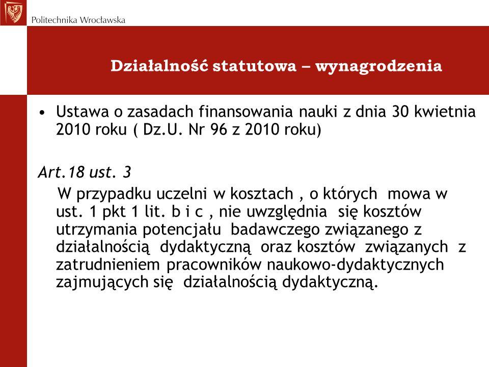 Działalność statutowa – wynagrodzenia Ustawa o zasadach finansowania nauki z dnia 30 kwietnia 2010 roku ( Dz.U. Nr 96 z 2010 roku) Art.18 ust. 3 W prz