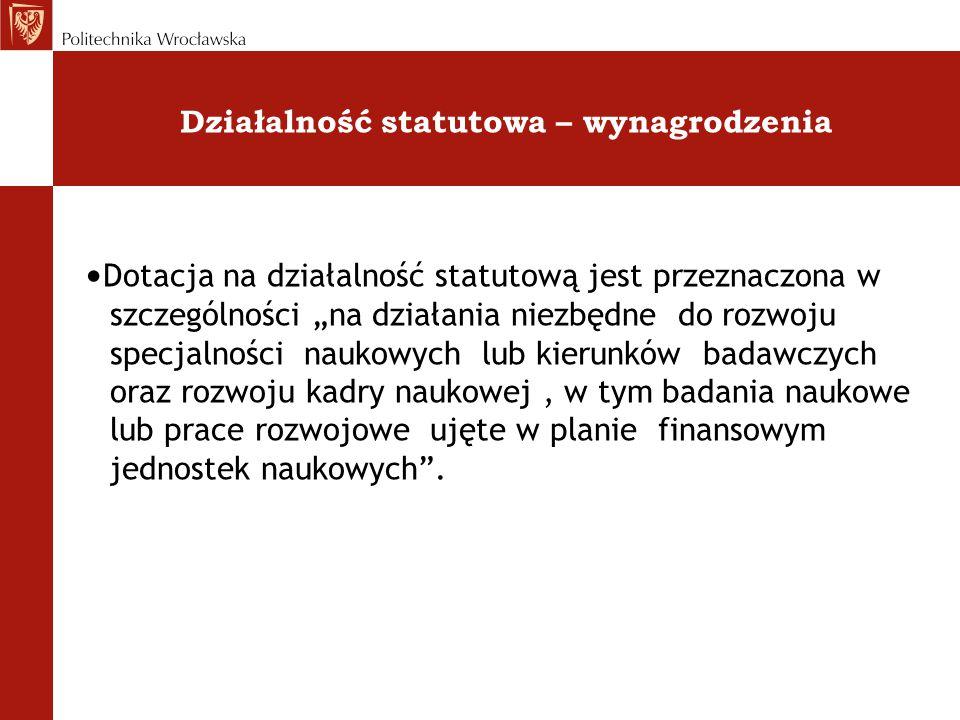 """Działalność statutowa – wynagrodzenia Dotacja na działalność statutową jest przeznaczona w szczególności """"na działania niezbędne do rozwoju specjalnoś"""