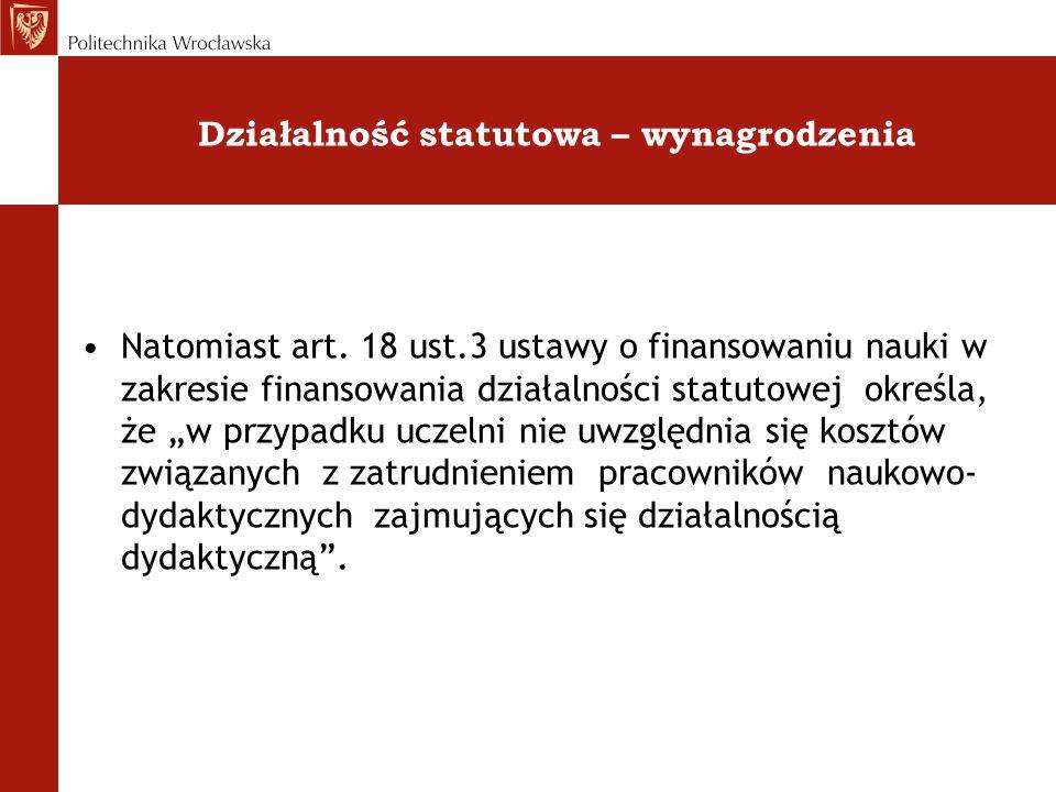 Działalność statutowa – wynagrodzenia Natomiast art. 18 ust.3 ustawy o finansowaniu nauki w zakresie finansowania działalności statutowej określa, że