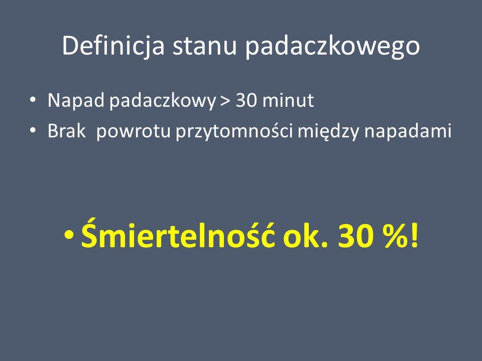 Definicja stanu padaczkowego Napad padaczkowy > 30 minut Brak powrotu przytomności między napadami Śmiertelność ok. 30 %!