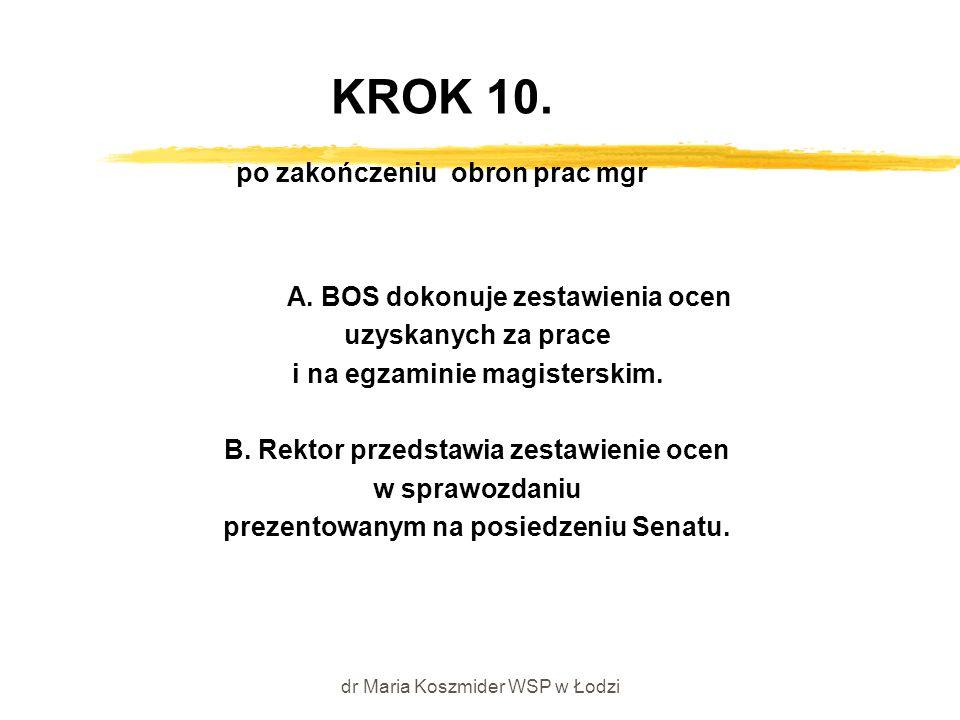dr Maria Koszmider WSP w Łodzi KROK 10. po zakończeniu obron prac mgr A. BOS dokonuje zestawienia ocen uzyskanych za prace i na egzaminie magisterskim