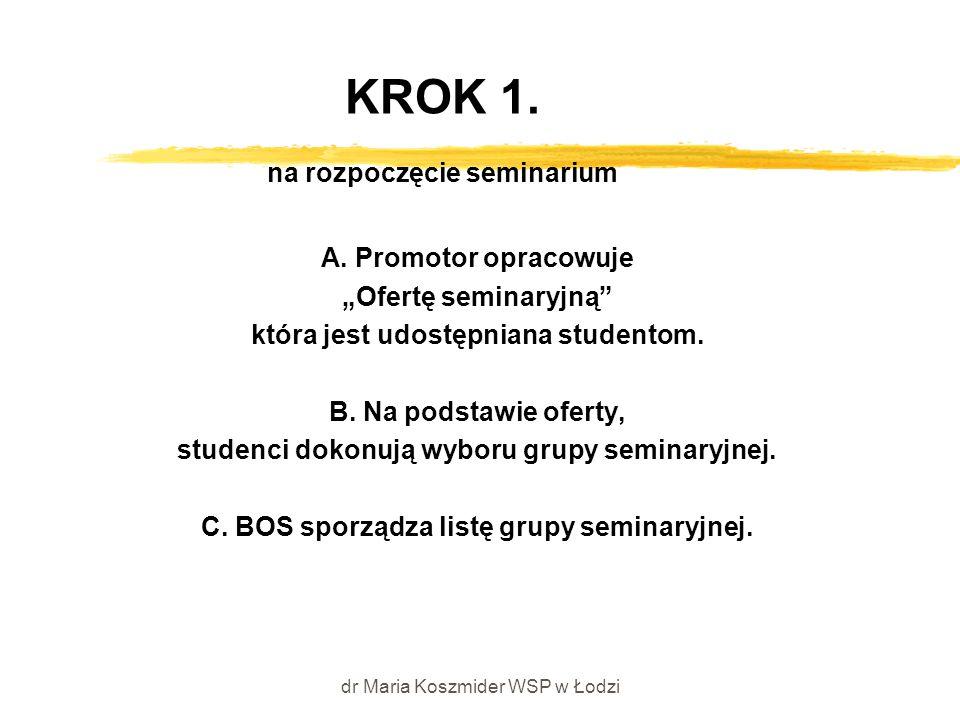 """dr Maria Koszmider WSP w Łodzi KROK 1. na rozpoczęcie seminarium A. Promotor opracowuje """"Ofertę seminaryjną"""" która jest udostępniana studentom. B. Na"""