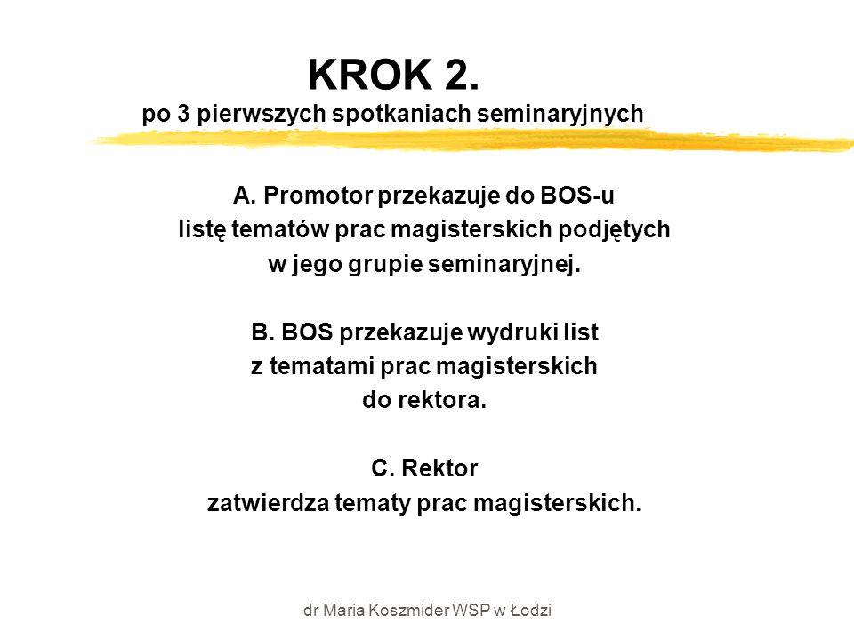 dr Maria Koszmider WSP w Łodzi KROK 2. po 3 pierwszych spotkaniach seminaryjnych A. Promotor przekazuje do BOS-u listę tematów prac magisterskich podj
