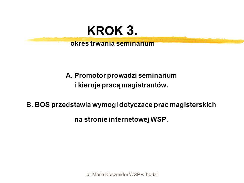 dr Maria Koszmider WSP w Łodzi KROK 3. okres trwania seminarium A. Promotor prowadzi seminarium i kieruje pracą magistrantów. B. BOS przedstawia wymog