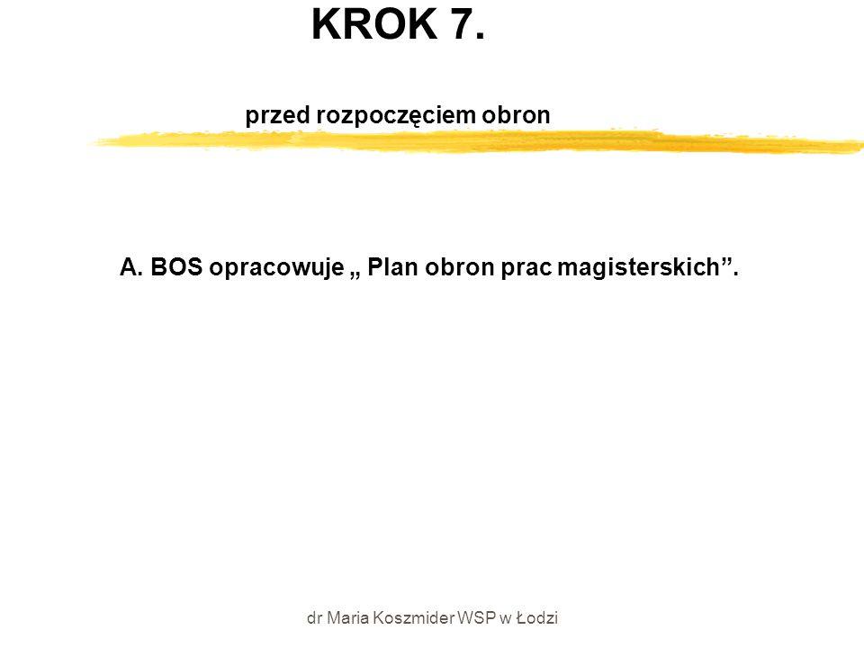 """dr Maria Koszmider WSP w Łodzi KROK 7. przed rozpoczęciem obron A. BOS opracowuje """" Plan obron prac magisterskich""""."""