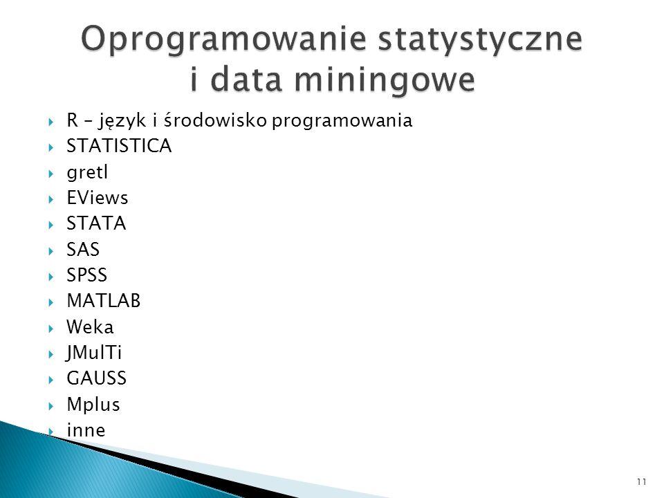  R – język i środowisko programowania  STATISTICA  gretl  EViews  STATA  SAS  SPSS  MATLAB  Weka  JMulTi  GAUSS  Mplus  inne 11