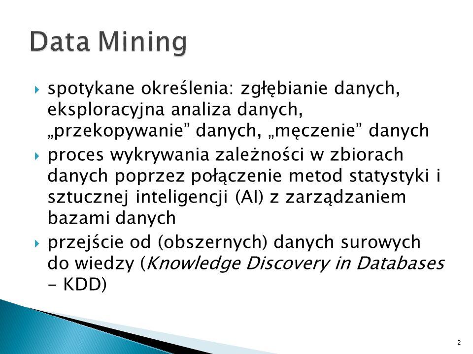 """ spotykane określenia: zgłębianie danych, eksploracyjna analiza danych, """"przekopywanie"""" danych, """"męczenie"""" danych  proces wykrywania zależności w zb"""