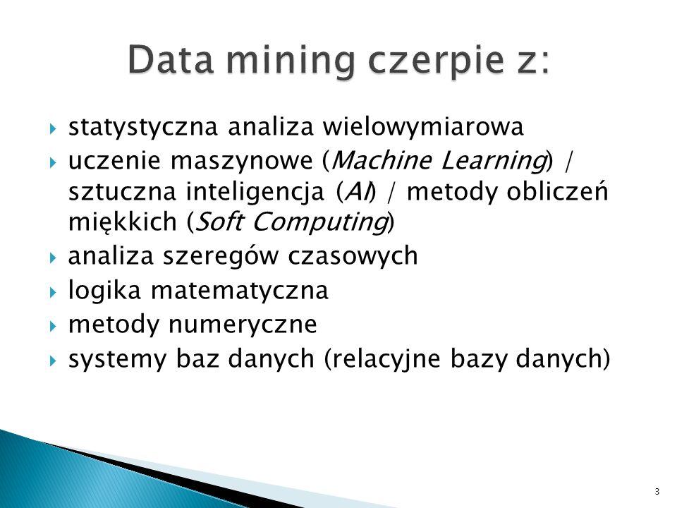 """ eksploracyjny data mining (eksploracyjna analiza danych, """"drążenie danych )  predykcyjny data mining (konstrukcja modeli opisujących prawidłowości odkryte w poprzednim etapie postępowania) 4"""