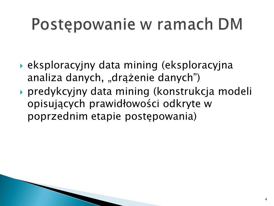 """ eksploracyjny data mining (eksploracyjna analiza danych, """"drążenie danych"""")  predykcyjny data mining (konstrukcja modeli opisujących prawidłowości"""