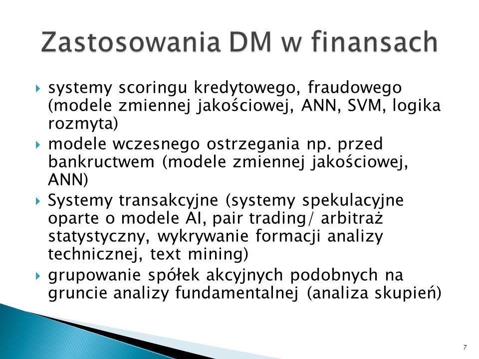  systemy scoringu kredytowego, fraudowego (modele zmiennej jakościowej, ANN, SVM, logika rozmyta)  modele wczesnego ostrzegania np. przed bankructwe