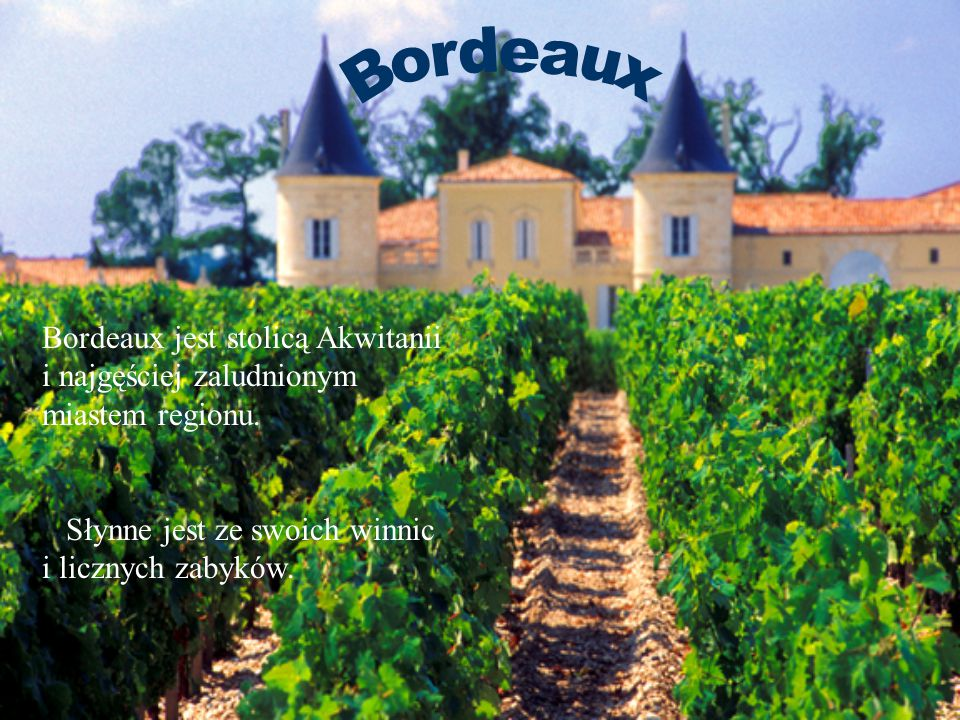 Bordeaux jest stolicą Akwitanii i najgęściej zaludnionym miastem regionu. Słynne jest ze swoich winnic i licznych zabyków.