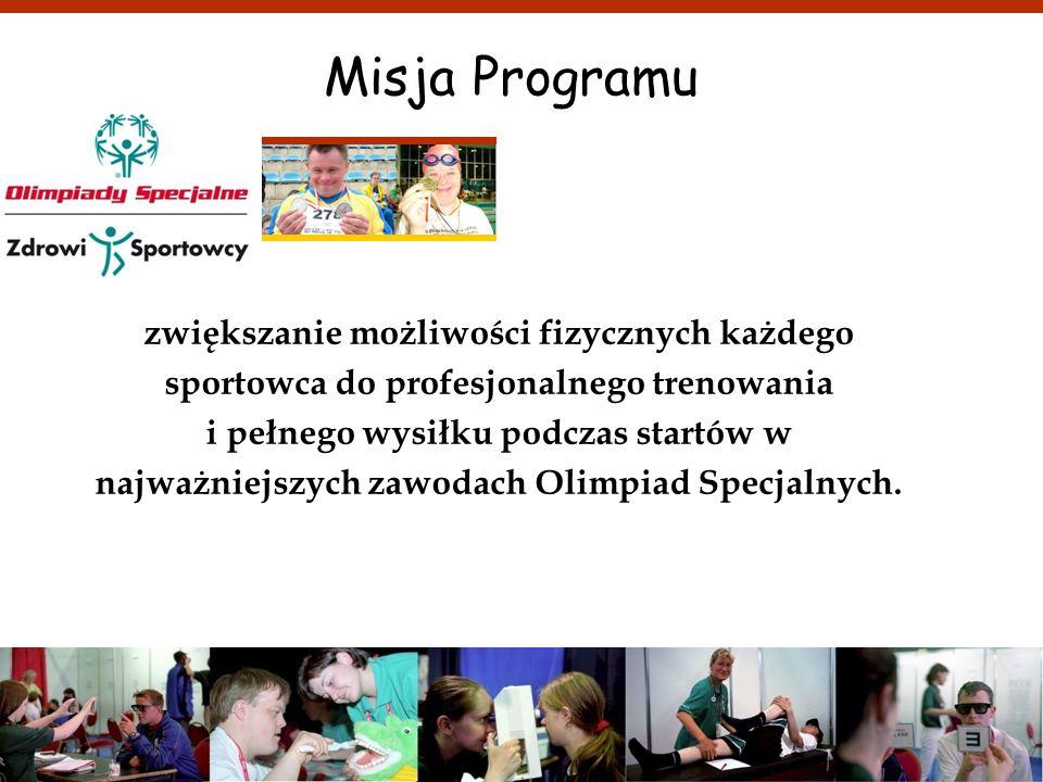 j.styczen@olimpiadyspecjalne.pl Misja Programu zwiększanie możliwości fizycznych każdego sportowca do profesjonalnego trenowania i pełnego wysiłku pod